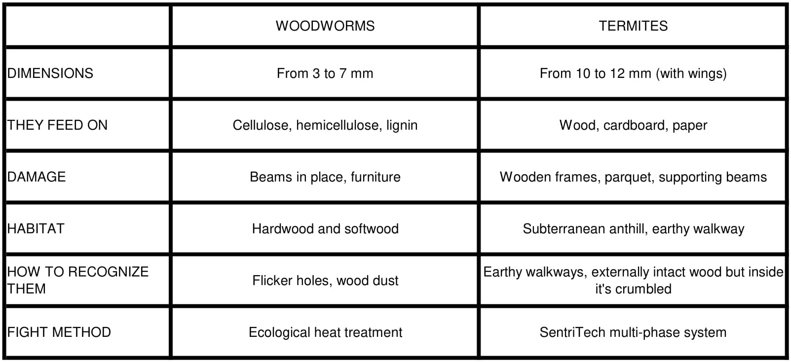 The main differences between Termites and Woodworms infestations